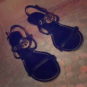 Tory Burch Black Leather Ankle Strap Sandals